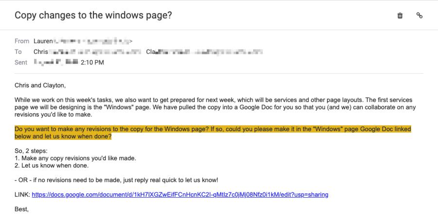 well-written client email