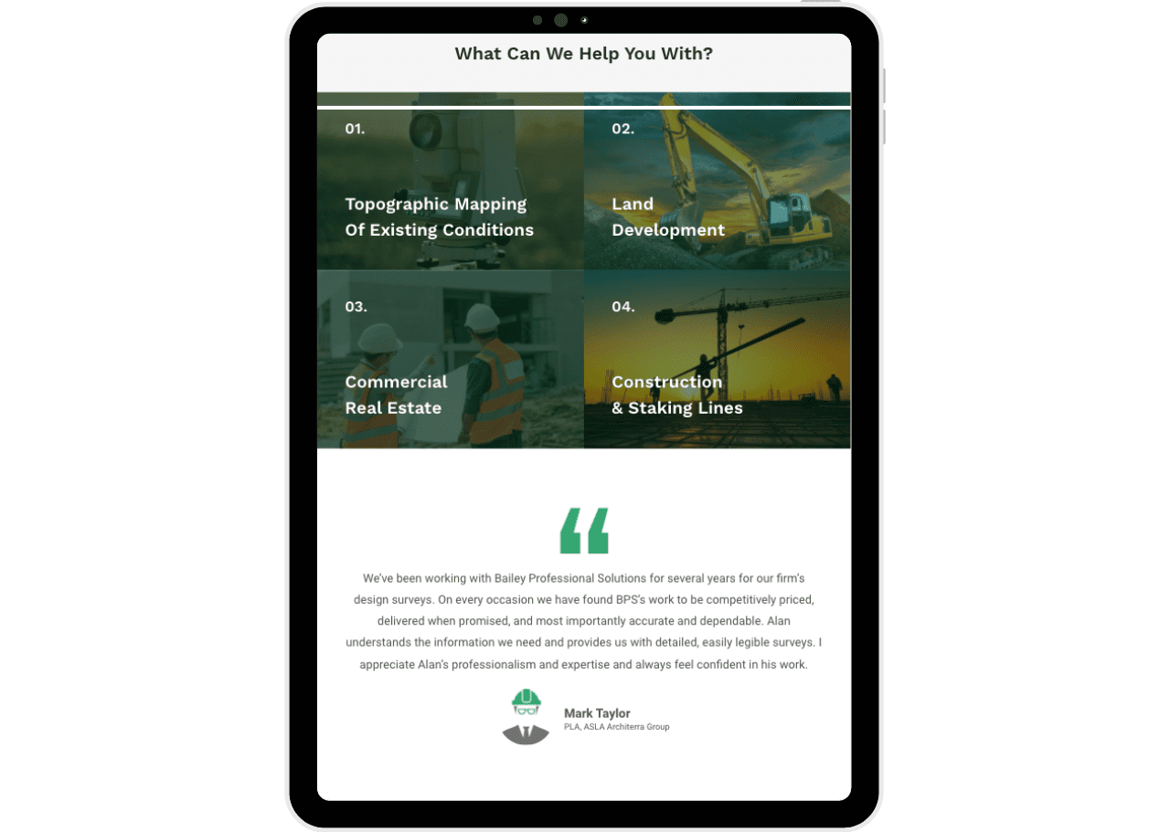 land surveying company website tablet view