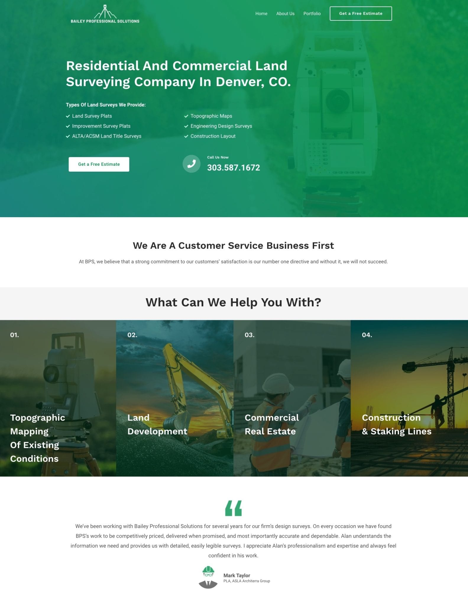 land surveying company well laid out home page design